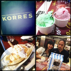 (Top - L) Korres at Raffles City Shopping Centre (B2-16), Banana Split Sundae at Hog's Breath - Raffles, my sibs with Garrett popcorn (City Link), Gelato mania (City Link).