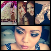 'Last Night' in PicStitch: Me at the party wearing Pao's sinh. Yes, my size 2 friend's sinh! Then the bride and me. The shoes I wore at the wedding that nearly killed my feet. And my makeup--Christina Aguilera circa The Voice S3-inspired